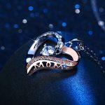 Collier, J.Rosée Argent 925 Bijoux Femme/Fille Pendentif Idéal 5A Zirconium cubique, Chaîne 45+5cm Cadeau parfait L'amour de la mère Cadeau fête des mères