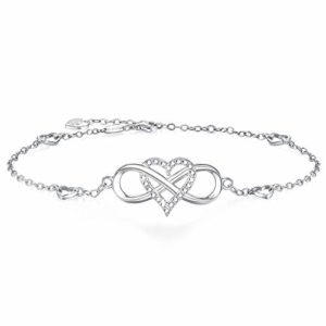 BlingGem Bracelets de Cheville pour Femme en Or Blanc Plaqué Argent 925/1000 avec Oxyde de Zirconium Rond Bracelet Infini Coeur Fille