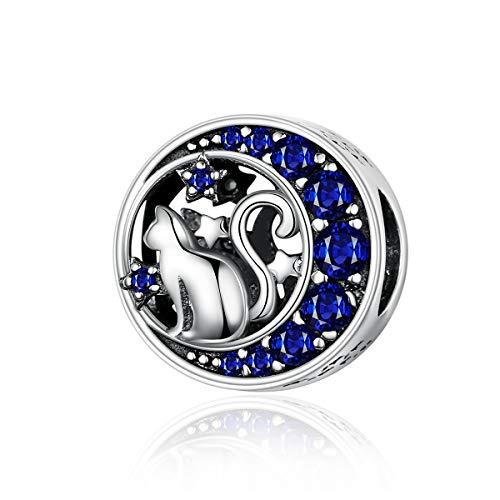 Reiko Lune Chat 925 Argent Bead Charms Bricolage Peut Être Combiné avec des Bracelets Et des Colliers