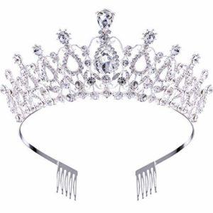 Makone Tiara Cristal Couronne avec Strass Peigne pour Couronne De Mariée Proms De Mariage Concours Princesse Parties Anniversaire (Peigne style5)