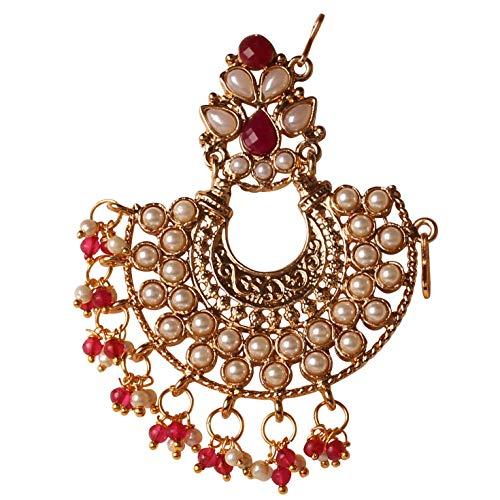 Touchstone Bollywood indien style impressionnant orné de perles de faux rubis bijoux de créateur jurapin pour femme Rouge