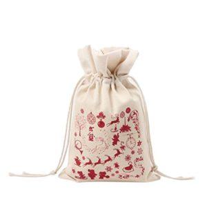 Cdet Style de Noël Sac à Cordon Pochette à Bijoux Sac Cadeau Bonbon Noël à Cordon Coulissant en Toile Sac de Rangement 1PC 16×23,5cm