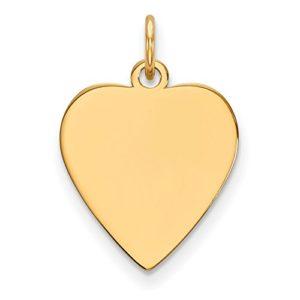 Diamond2deal 14K Or Jaune Uni .035Jauge Cœur gravable Disc Charm