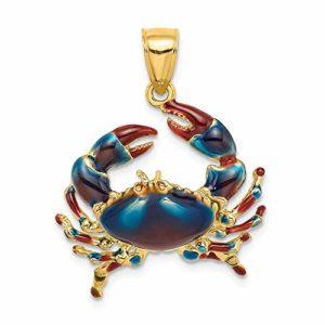 Pendentif en forme de crabe en or jaune 14 carats 2 D avec émail bleu