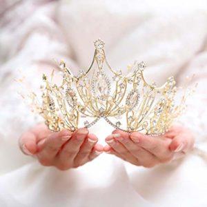 Unicra Wedding Crowns and Tiaras Costume Strass Or Fleur Reine Couronne De Mariée pour Femmes et Filles