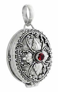 Windalf Pendentif en Forme de médaillon médiéval avec Pierre de Granite Rouge Fait Main en Argent 3,4 cm