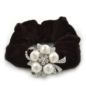 Plaqué Rhodium cristal perle artificielle de fleur de queue de cheval Chouchou cheveux noir–Blanc/Transparent