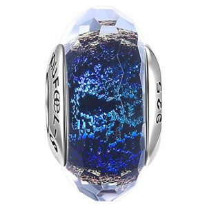Soufeel Charms Perles en Verre de Murano Bleu Océan pour Femme Argent Massif 925 Compatible Européen Bracelets à Breloques Cadeau Fête des Mères