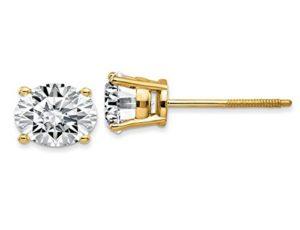 1,5ct Diamant Solitaire Boucles d'oreille à tige 14K Or jaune à vis arrière (couleur D Vvs1-vvs2Clarté)
