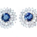 5.58ct &- Boucles d'oreilles Saphir de Ceylan et diamant Blanc 12 k