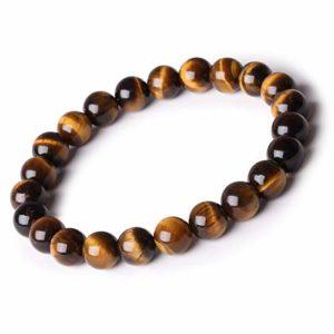 Ahokei Bracelet en pierre pour hommes et femmes oeil de tigre 8MM Pierre ronde Bracelet de perles naturelle Stretch Bracelet Bracelet naturel Bracelet de yoga Cadeaux de la Saint-Valentin