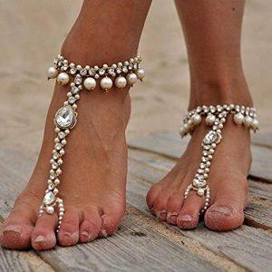 Anglacesmade Bracelet de cheville avec perles de bohème avec anneau d'orteil pour la plage et le mariage 2 pièces strass pieds nus