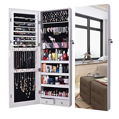 ANLW Bijoux Armoire Grand Miroir Armoire Organisateur Miroir Mur Porte monté Organisateur ...