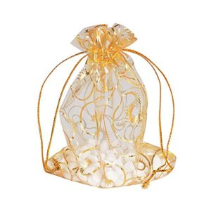 AONER 100 pcs 10 * 12cm Pochettes Sachets Sacs Cils d'or Cadeau Bijoux en Organza