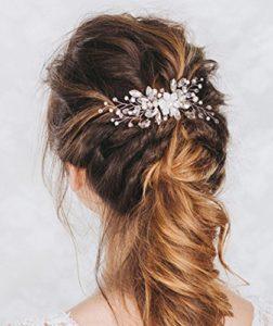 Aukmla – Peigne à cheveux de mariage à strass et fleurs, accessoires de mariage pour mariée et demoiselle d'honneur