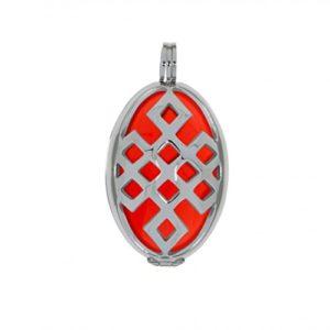 Aura Pendentif Amour nœuds M (3cm) acier inox Set avec force Pierre, Couleur: Orange