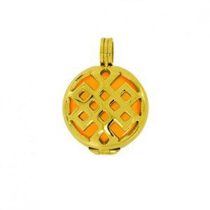 Aura Pendentif Amour nœuds S Set (2cm) en acier inoxydable plaqué or avec pierre Kraft, couleur: jaune