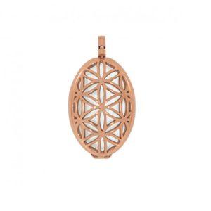 Aura Pendentif Fleur de vie L (4cm) acier inoxydable Rose Set avec pierre Kraft, couleur: blanc