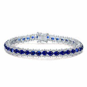 Beydodo Bracelet Femme 18 Carat Or Bracelet Tennis avec Saphir Ovale Cadeau Saint Valentin Femme