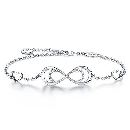 BlingGem Cœur Infini Bracelet pour Femme en Or Blanc Plaqué Argent 925/1000 avec Oxyde de Zirconium Rond Double Infini Cadeau de bijoux pour la Fête des Mères