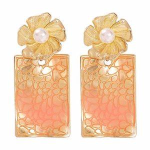 Boucles D'oreilles Pendantes FemmeBijoux de perle de la mode texture géométrique rectangulaire boucles d'oreilles bijoux cadeau des femmes Cadeau Parfait,Anniversaire de Mariage