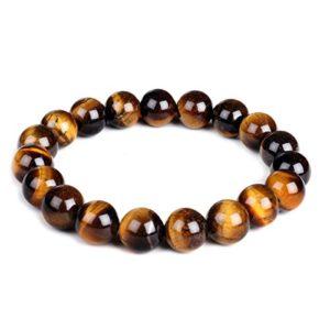 Bracelet Énergétique de Yoga et de Guérison avec Perles de 10 mm en Pierre Oil de Tigre – Élastique – Unisexe – 10 mm