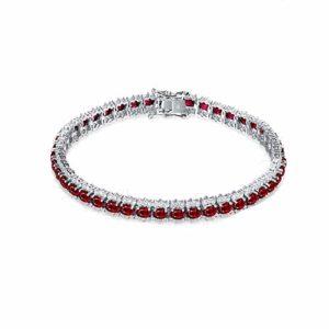 Bracelet Femme Fine Rubis*8.8ct Rouge Diamant, Or Blanc 18 carats Élégant