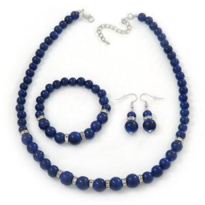 Céramique Bleu marine-Collier Perles Bracelet flexible &Boucles d'oreilles goutte avec cristal en ton argenté-longueur 44 cm/Extension 6 cm