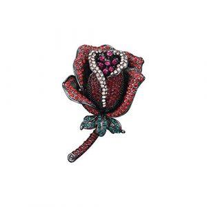 Cristal rouge rose fleur broches femmes pétillant broche de fête de mariage broches cadeaux de nouvel an, rouge