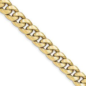 Diamond2Deal pour Femme 10K Or Jaune Chaine de Cheville de Cuba de sécurité avec Fermoir Mousqueton 22,9cm