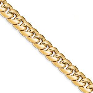 Diamond2Deal pour Femme Or Jaune 14K 12,6mm Semi Massif de Cuba Cheville 22,9cm
