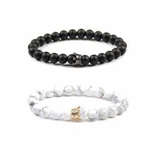 Distance Bracelets de Believe London avec sac de bijoux et carte de signification | Fort élastique | Amitié Relation Couples Son Ses | Howlite Blanc Agate Onyx Noir (Black Chain King & Queen Bracelet)