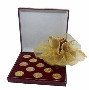 DOCOLASTRA Arras de la vie en couleur doré avec étui et LIMOSNERA de satin en blanc cassé, y compris, pour toutes les mariages et maritime.