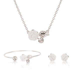 DoreenBow Femme Set Ensemble Cadeau 3PCS 1 Collier 1 Barcelet 1 Paire Boucle d'oreille en Forme de Fleur Strass en Alliage Blanc Couleur Argent