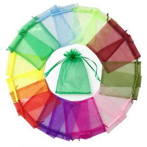 Ealicere 100 Pcs Multicolore Pochettes Cadeau Organza Sachets, Cordon de Serrage Sacs Mariage Sac en Organza,10x15cm(3.9×5.9inch),pour Couleur,Mariage, Bijoux, Fête