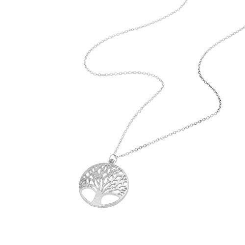 Fansi 1 pcs Femmes Fille Fantasy Life Arbres Alliage Zircon Perle Chandail Pendentif Collier Claviculaire Chaîne Bijoux Accessoires (Argent)