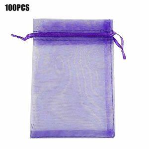 Goodtimera Lot de 100 sachets en Organza 10 x 15 cm Violet foncé
