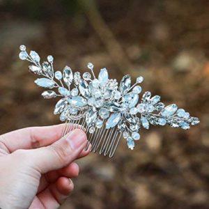 Handcess Peigne à cheveux de mariée en strass argenté