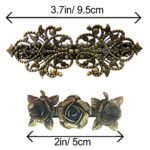 Lot de 2 Barrettes Métalliques Vintage Rétro – Accessoires pour Cheveux en Bronze avec Roses