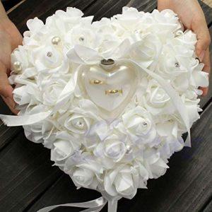 MALAT Romantic Rose Wedding Ceremony Favors Heart Shaped Pearl Gift Ring Box Ring Bearer Pillow Cushion