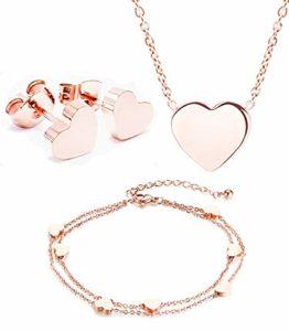 Mixiueuro Parure de bijoux en forme de cœur en acier inoxydable plaqué or rose 14 carats avec collier, boucles d'oreilles et bracelet à breloques Style minimaliste Sans nickel