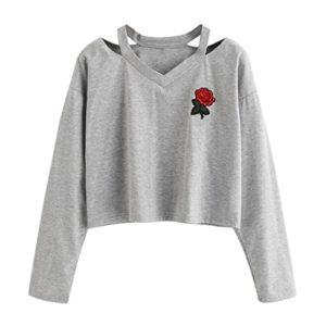 Mode Sweat à Capuche Femme,Koly の 2018 Automne Hiver Sweatshirt Broderie Rose Chemisier Hoodie Pull a Capuche Causal Tops Taille Haute Manches Longues pour Ado Filles Étudiante (S, Gris)