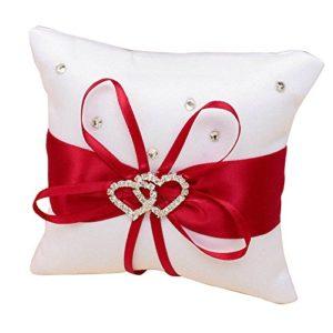 Moligh doll Anneau Oreiller pour Oreiller Anneau de Mariage avec des Rubans de Satin Rouge + Blanc 10 cm x 10 cm