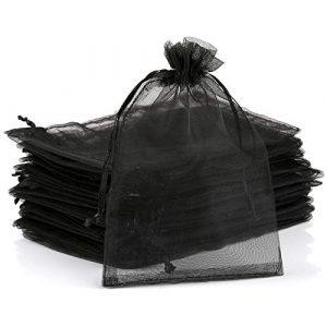 Naler Lot de 120 Sachets Pochettes Sacs Organza de Poche de Cadeau Mariage Bijoux Sacs 10 * 15 cm Noir