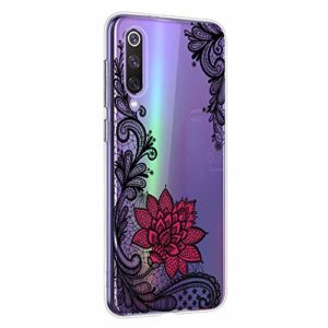 Oihxse Mandala Motif Case Compatible pour Xiaomi Mi Max2 Coque Transparente Silicone TPU Souple Protection Etui Ultra Slim Mehndi Floral Datura Dentelle Housse Bumper (A5)