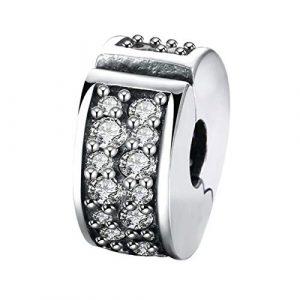 PANAMI Charm à charnière en argent sterling 925 avec fermoir à clip et fermoir – Breloque vintage en oxyde de zirconium pour femme et fournitures de bijoux