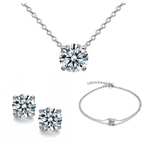 Parure classique pour femme composée d'un bracelet, de boucles d'oreilles et d'un collier en argent 925 ornés d'un solitaire – livrée dans un coffret cadeau
