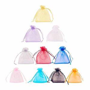 Pochettes en Organza,Sachets Organza 100 pièces 10 * 15cm Multi-Couleur Pochettes Cadeau pour le Mariage Anniversaire Baby Shower et Diverses Occasions