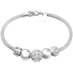 Qifumaer Bracelet en Perles de Fleurs Bracelet Plaqué Argent Cadeau élégant pour Les Filles et Les Dames
