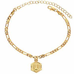 QWERBAN Chaîne De Charme Initiale De Couleur d'or for Les Femmes De La Mode Anklet Personnalisé Bracelet Cheville avec Alphabet Letter (Metal Color : Letter L)